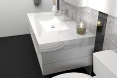 Modern elegant bathroom with black and white granite stone Stock Photography
