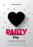 Modern, elegant flyer for a party on Valentine's Day. Stock Photo