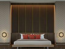 Modern elegant modern tolkningbild för sovrum 3d Arkivfoton