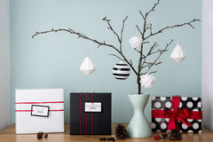 Modern and elegant nordic christmas decor in black and white and red stock image