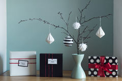 Modern and elegant nordic christmas decor in black and white and red stock photo