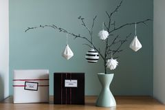 elegant nordic christmas decor in black and white and red colors stock photo