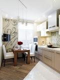 Modern elegant och lyxig kökinredesign Royaltyfri Bild