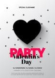 Modern elegant reklamblad för ett parti på valentin dag Arkivfoto