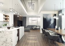 Modern, elegant and spacious interior with wonderful view. 3D illustration stock illustration