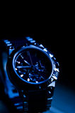 Modern elegant watch in blue tone Royalty Free Stock Photography
