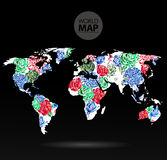 Modern elements of info graphics. Flowers World Map Stock Image