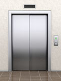 Modern elevator with closed doors. Extreme closeup Stock Photo