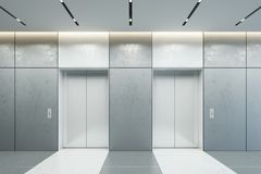 Modern elevator with closed doors in office lobby, 3d render. Ing royalty free stock photography