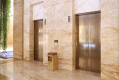 Modern elevator in a commercial building stock images