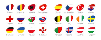 Modern ellipse icon symbols of the participating countries to the final soccer tournament of Euro 2016 in france. Modern ellipse icon symbols of participating Royalty Free Stock Photos