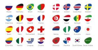 Modern ellipse icon symbols of participating countries of the russian soccer tournament. Modern ellipse icon symbols of participating countries to the soccer Royalty Free Stock Images