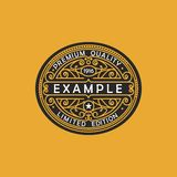 Modern embleem, kenteken, monogrammalplaatje Van de het ornamentlijn van het luxe de elegante kader van het het embleemontwerp ve Royalty-vrije Stock Foto