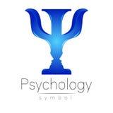 Modern embleem van Psychologie psi Creatieve stijl Logotype in vector Het Concept van het ontwerp Merkbedrijf Blauwe kleurenbrief Stock Foto's