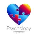 Modern embleem van Psychologie Raadsel Heart Creatieve stijl Logotype in vector Het Concept van het ontwerp Merkbedrijf Blauw en Royalty-vrije Stock Foto