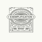 Modern emblem, badge, label, monogram template. Luxury elegant frame ornament line logo design vector illustration. Art Royalty Free Stock Images