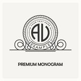 Modern emblem, badge, monogram template. Luxury elegant frame ornament line logo design vector illustration. Good for Stock Photography