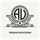 Modern emblem, badge, monogram template. Luxury elegant frame ornament line logo design vector illustration. Good for Royalty Free Stock Photo