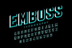 Modern embossed font. Alphabet letters and numbers stock illustration
