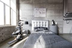 Modern empty bedroom in loft style with grey colors and wooden hand made Christmas tree with presents. Bed with grey blanket Royalty Free Stock Photography