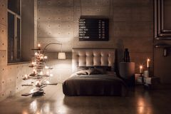 Modern empty bedroom in loft style with grey colors and wooden hand made Christmas tree with presents. warm and cozy. Modern empty bedroom in loft style with stock photo