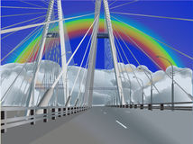 Modern empty bridge under rainbow Royalty Free Stock Images