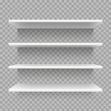Modern empty 3d bookshelf. Retail shop shelf on wall. White shelves with shadow vector set. Modern empty 3d bookshelf. Retail shop, storage shelf on wall. White vector illustration