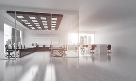 Office interior design in whire color and rays of light from win Stock Photos