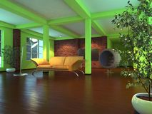 Modern empty interior with orange sofa Stock Images