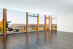 Modern interior overlooking a city Stock Images