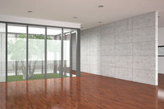 Modern empty interior with parquet floor. Modern empty interior with large window and parquet floor Royalty Free Stock Photography