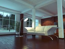 Modern empty interior with plant and sofa Royalty Free Stock Images