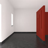 Modern empty interior with red wall. Tiled floor and window stock illustration