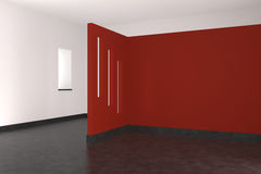 Modern empty interior with red wall. Tiled floor and window Stock Photography