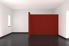 Modern empty interior with red wall. Tiled floor and window Royalty Free Stock Photos