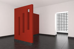 Modern empty interior with red wall and windows. Modern empty interior with red wall and window with glass blocks Royalty Free Stock Image