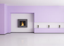 Empty interior with fireplace 3d render Stock Photos