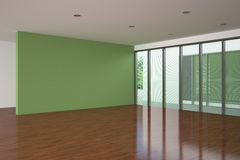 Modern empty living room with green wall. Modern empty living room with large window and green wall Royalty Free Stock Images