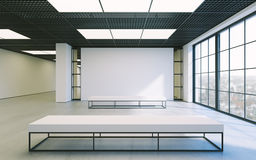 Modern empty minimalistic interior of exhibition with clean walls. Loft design, Art gallery or museum. 3d rendering. Modern empty minimalistic interior of Royalty Free Stock Images