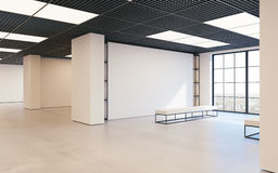 Modern empty minimalistic interior of exhibition with clean walls. Loft design, Art gallery or museum. 3d rendering. Modern empty minimalistic interior of Stock Photography