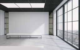 Modern empty minimalistic interior of exhibition with clean walls. Loft design, Art gallery or museum. 3d rendering. Modern empty minimalistic interior of royalty free illustration