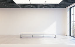 Modern empty minimalistic interior of exhibition with clean walls. Loft design, Art gallery or museum. 3d rendering. Modern empty minimalistic interior of Stock Images