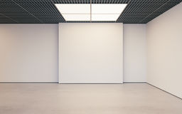 Modern empty minimalistic interior of exhibition with clean walls. Loft design, Art gallery or museum. 3d rendering Royalty Free Stock Image