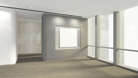 Modern Empty Room with blank frame for picture, 3d render interi. Or design, mock up illustration Royalty Free Stock Images