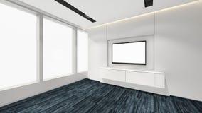 Modern Empty Room, 3d render interior design, mock up illustrati Royalty Free Stock Photos