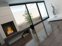 Modern empty room interior with fireplace. Picture of modern empty room interior with fireplace Royalty Free Stock Image