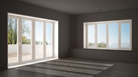 Modern empty space with big panoramic windows and wooden floor, minimalist gray architecture. Interior design stock image