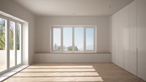 Modern empty space with big panoramic windows and wooden floor, minimalist white architecture interior. Design royalty free stock photos