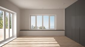 Modern empty space with big panoramic windows and wooden floor, minimalist white architecture interior design. Modern empty space with big panoramic windows and royalty free stock photo