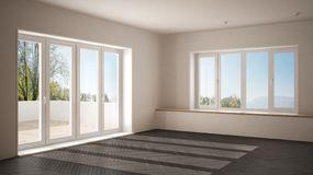 Modern empty space with big panoramic windows and wooden floor, minimalist white and gray architecture interior. Design stock image